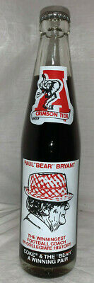 PAUL BEAR BRYANT ALABAMA CRIMSON TIDE 315 WINS VINTAGE 1979 COKE BOTTLE