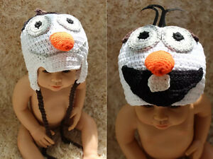 New Knit Crochet Baby Child Kids Frozen Snowman Olaf Hat Newborn