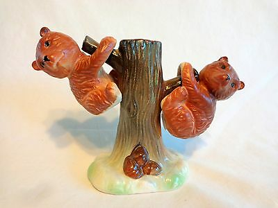 BEARS IN TREE Salt and Pepper Shakers Hanging 3 Pieces Brown Green Japan