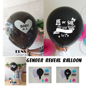 Gender-Reveal-Black-Balloon-It-039-s-a-Girl-Boy-Confetti-xl-Pink-Blue-Balloons-baby