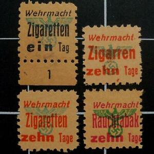 German WW2 Wehrmacht Cigarette/Cigar/Tobacco ration stamps-RARE BLACK EIN TAG-NG