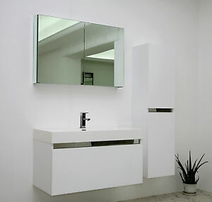 white gloss modern vanity unit wall hung contemporary mdf
