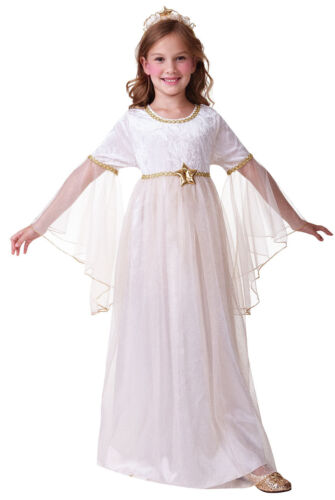 Girls Angel Costume Christmas Xmas Kids Nativity Fancy Dress Outfit New 4-6-8-10