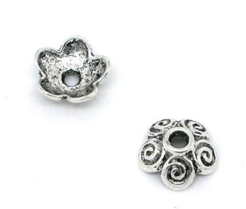 Wholesale Lots Silver Tone Flower Bead Caps 10x4mm Findings