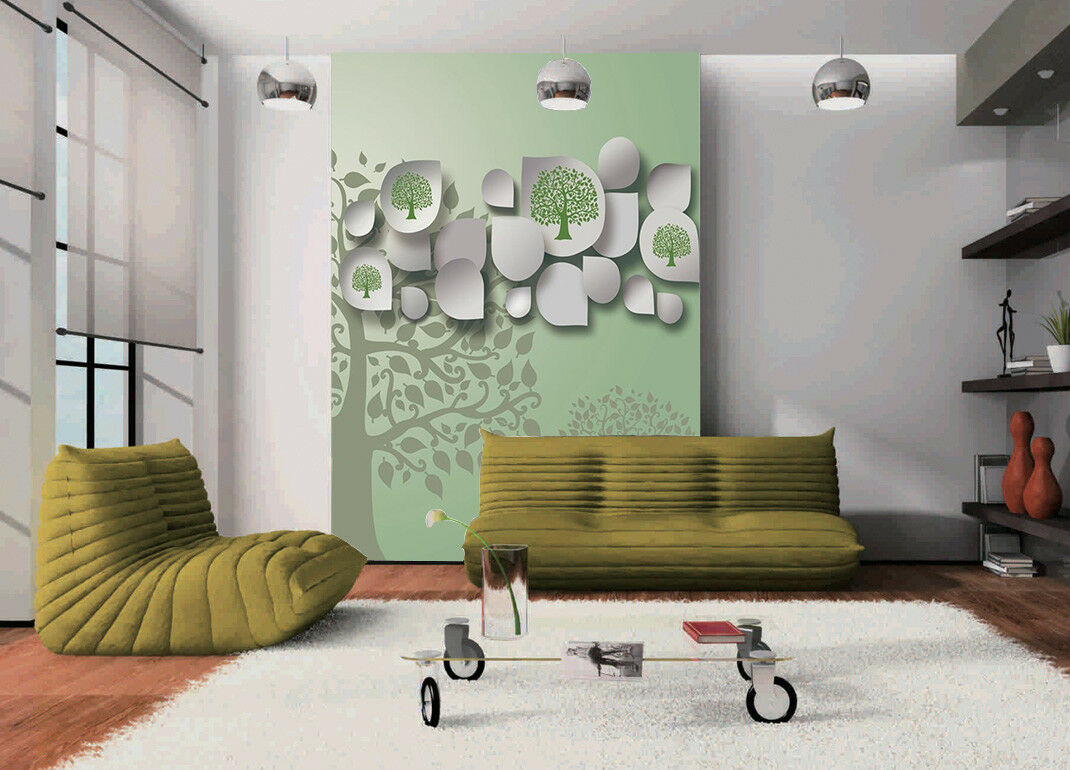3D Grün Tree 727 Wallpaper Mural Paper Wall Print Wallpaper Murals UK