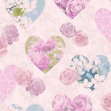 Heart Themed Wallpaper S Bedroom Pink Various Designs Available Fl Hearts Lilac Fd41913