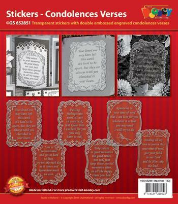 Card making Double Embossed Stickers Condolences & Verses 6 Transparent Gold
