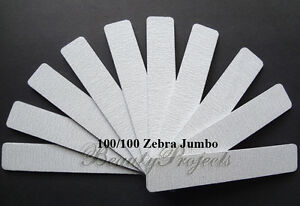 10pc-Professional-100-100-Grit-Zebra-Jumbo-Nail-Files-Square-Shape-7x1-USA-new