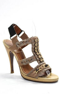 Lanvin-Womens-Strappy-Beige-Leather-Sandals-Heels-Shoes-Size-EUR-39