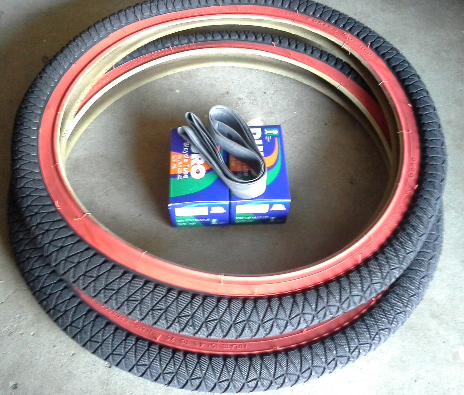 1 PAIR 20X1.95 BMX BICYCLE DURO TIRES PLUS 2 TUBES - RED WALL - FREE RIM LINERS