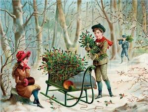 VINTAGE-VICTORIAN-CHRISTMAS-HOLLY-CURRIER-amp-IVES-CANVAS-ANTIQUE-ERA-ART-PRINT