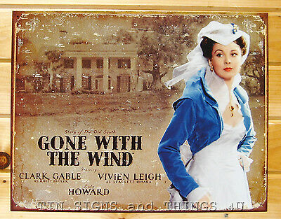 Gone With The Wind TIN SIGN Scarlett at Tara metal movie poster wall decor #1410