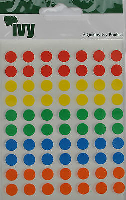 Pack of 490 Self Adhesive Round 8mm Sticky Dots Labels Stickers Coloured Circle