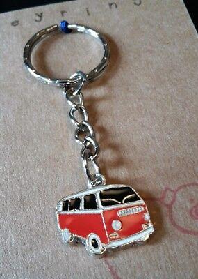 FUNKY RED BLACK VW CAMPER VAN KEY RING CHAIN KITSCH CUTE RETRO SURFER GIFT BAG