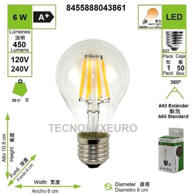 Bombilla LED filamento A60 estandar E27  2700 K luz cálida 6 WBombilla LED filam