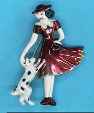Red Hat High Society Lady with Pooch Pin Broach