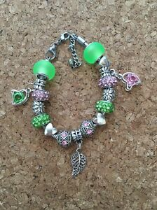 eaf5bb840f7cd Details about Alpha Green Ivy and Pink Charm Bracelet Kappa With Leaf Charms