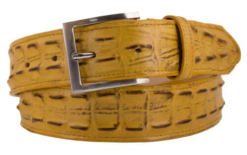 Mens Crocodile Tail Belt Print Leather Western Butterscotch Buckle Cinto Rancho