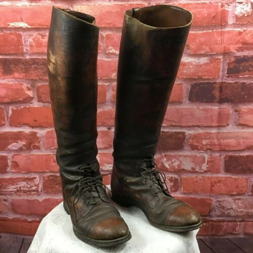 Antique 30s Men's Leather US Army Cavalry Tall Boo