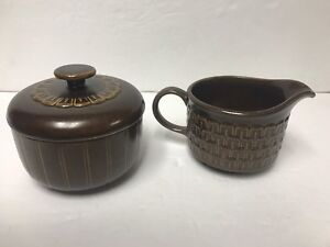 Image is loading Wedgwood-Pennine-Pottery-Creamer-and-Sugar-with-Lid- & Wedgwood Pennine Pottery Creamer and Sugar with Lid Brown Rustic ...
