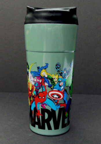 NEW DISNEY Store MARVEL COMICS Travel Coffee Mug STAINLESS STEEL Plastic 16 oz
