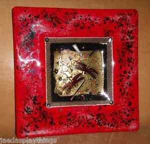 Hand-Blown-Art-Glass-9-25-034-Ashtray-Plate-Signed-Davis-Gold-Fleck-FREE-US-Ship