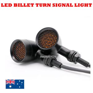 2x-Black-Grill-Motorcycle-LED-Turn-Signal-indicator-Light-Harley-Chopper-custom