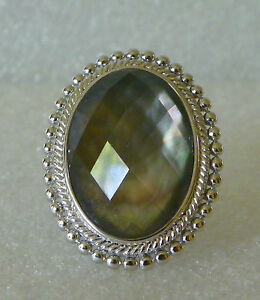 Large-Sterling-Silver-Honora-Black-Mother-of-Pearl-Faceted-Doublet-Ring-Sz-6