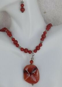 Carnelian-Wave-Center-Drop-Style-Necklace-and-Matching-Earrings-Jewelry-Set