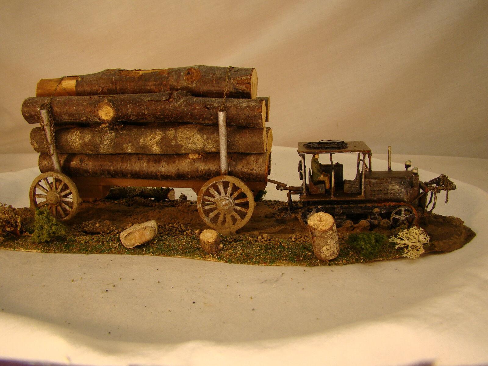 On30 or O scale very rare Caterpillar Tractor Logging Diorama - custom weatherosso