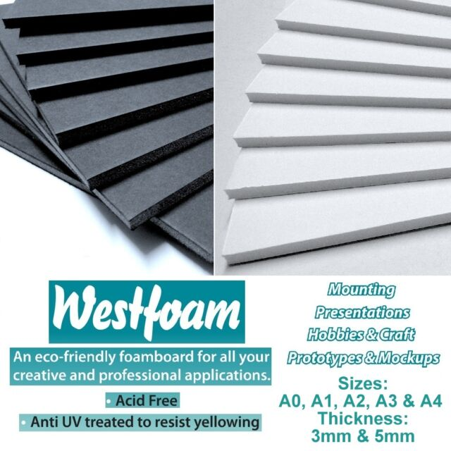 5 mm Thick A0 Foam Board 10 Sheets Black