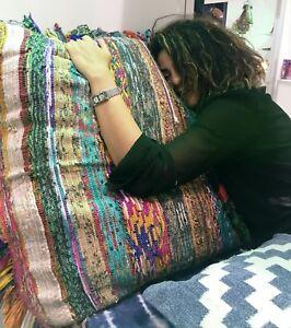 Large-Rag-Rug-Cushion-Cover-40-034-Hand-Loomed-Reversible-Square-Floor-Pillow-Sham