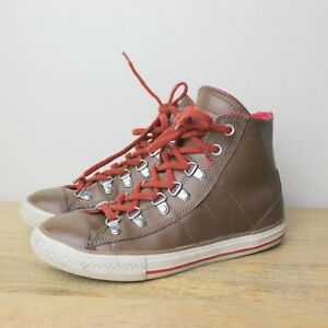 e47a45e931fe59 Converse Brown Leather All Star Hi Tops Red Shoe Lace US 4 Junior ...