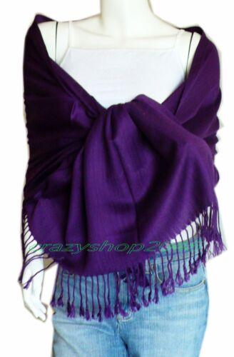 Elegant Pashmina Cashmere Scarf Wool Shawl//Wrap//Eggplant