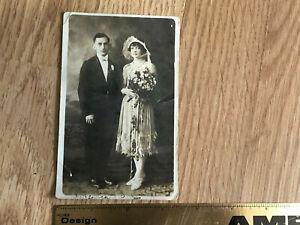 1927-RPPC-Bride-amp-Groom-Wedding-Postcard-Saint-Clair-Pottsville-PA-Flapper-NR
