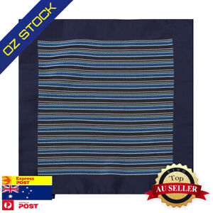 Blue-Mens-Wedding-Pocket-Square-Black-Stripes-Gift-Idea-Hanky-Epoint-EEHA0146