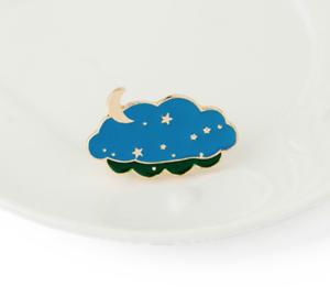 Broche Vintage Bohemio Placa//////Accesorio Blogger Nube Sky Moon Stars Esmalte Pin