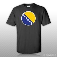 Round Bosnian And Herzegovinian Flag T-shirt Tee Shirt Free Sticker