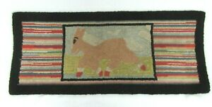 CLAIRE-MURRAY-HAND-HOOKED-FOLK-ART-PONY-HORSE-RUNNER-RUG-15X34-COUNTRY-PRIMITIVE