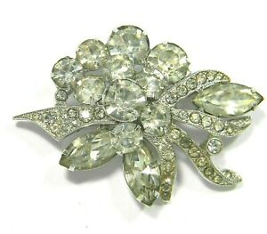 Vintage-Eisenberg-Ice-Clear-Crystal-Rhinestone-Brooch-Statement-Pin-Signed