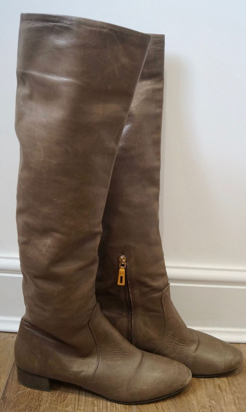 PRADA Women's Brown Leather Zip Fastened Tall Knee High Lined Boots EU38.5 UK5.5