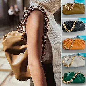 Soft Real Leather Ruched Big Chunky Metal Chain Pouch Clutch Shoulder Bag Purse