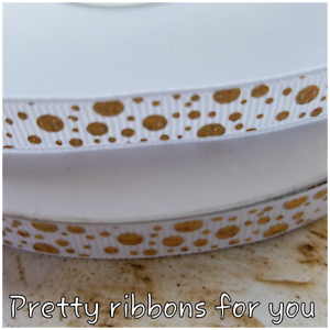 """GOLD dots on WHITE 3//8/"""" wide grosgrain ribbon the listing is for 5 yards total"""