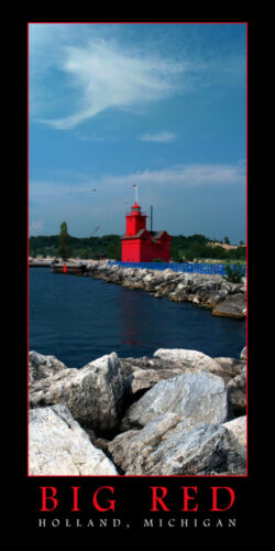 Poster Panorama Big Red Holland Lighthouse Panoramic Fine Art Print 10x20 Photo