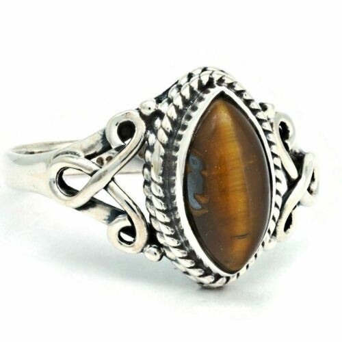 925 Women Ring Silver Natural Tiger Eye Stone Ring Fine Jewelry Natural Gemstone