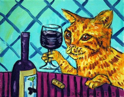 orange cat at the wine bar  art print modern 8x10