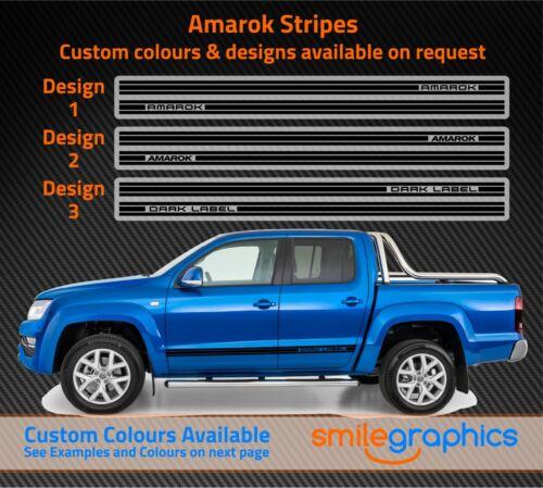 Other Colours VW Amarok Stripes Dark Label Custom Designs Stickers Black