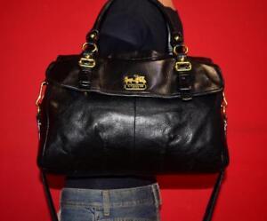 COACH-Black-Leather-MADISON-Flap-Tote-Satchel-Carryall-Shoulder-Purse-Bag-18621
