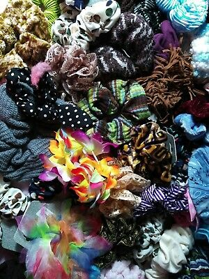 6 FESTIVE DRESSY JUMBO size Scrunchies Hair Twisters Ties many colors UNIQUE lot