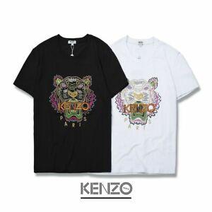 Couple-Unisex-Tiger-Embroidered-Logo-Kenzo-Paris-Women-and-Man-T-Shirt-Black